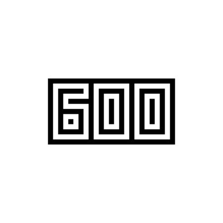 Number 600 icon design with black and white background. Vector illustration.