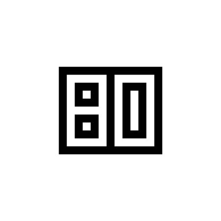 Number 80 icon design with black and white background. Vector illustration.