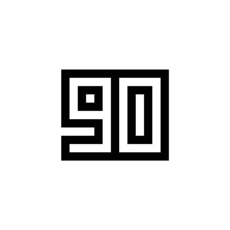Number 90 icon design with black and white background. Vector illustration.
