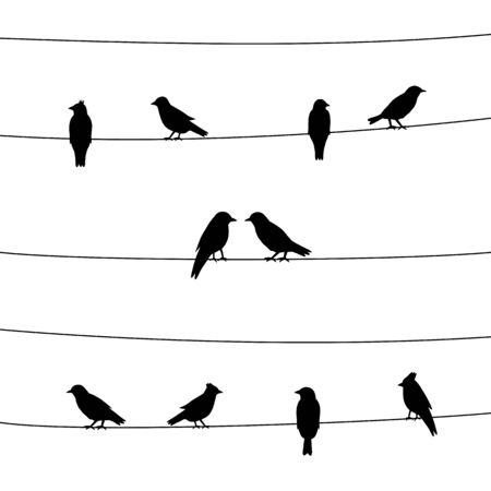 Une silhouette d'oiseaux sur des fils. Illustration vectorielle.