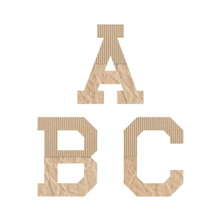 Alphabet letters D E F G with brown paper on white background.