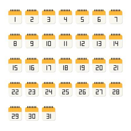 Calendar number 1-31 flat icon on white background. Vector Illustration.  Ilustrace