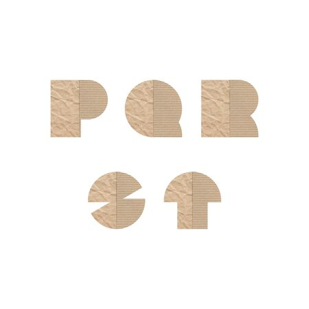 Alphabet letters P Q R S T with brown paper on white background.