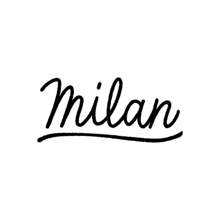 Milan hand lettering on white background. Ilustrace