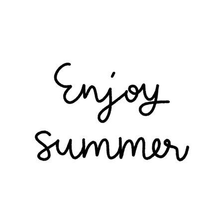 Enjoy summer hand lettering on white background. Çizim