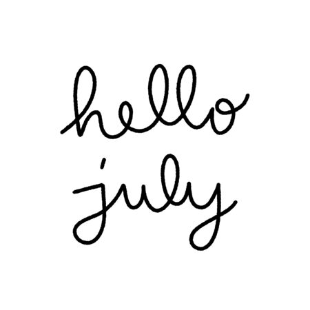 Hello July hand lettering on white background.