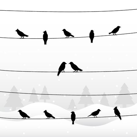 Silhouette of birds on wires in winter background. Vector illustration.