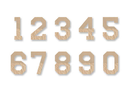 Set of number mockup with brown paper on white background.