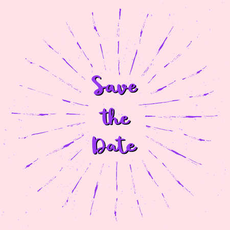 Save the date hand lettering with violet sunburst lines on pink background.