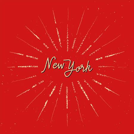 New York hand lettering with orange sunburst lines on red background.