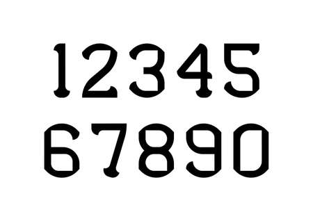 Set of numbers with black typography design elements. Vector illustration.