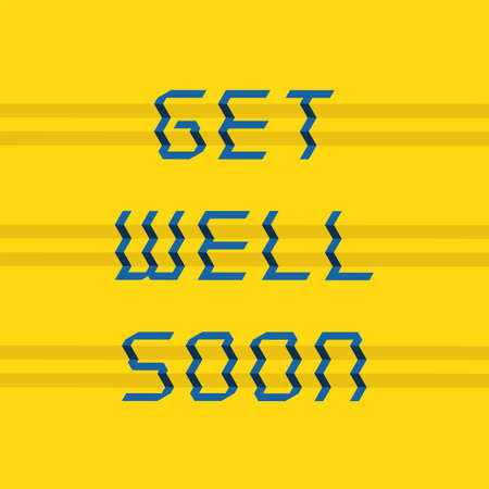 Stepped typography design with get well soon. Vector illustration. Stock Illustratie