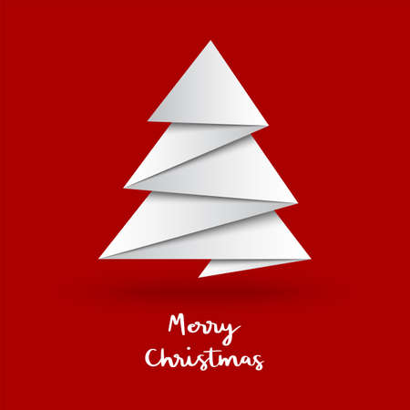 Christmas tree with origami style on red background.