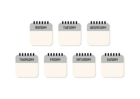 Week calendar flat icon on white background. Vector Illustration.