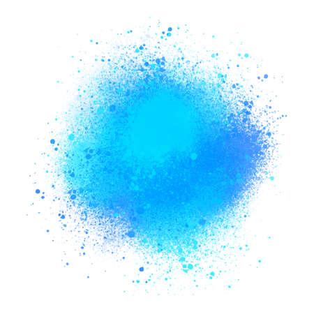 Blue watercolor splatters on white background for design.