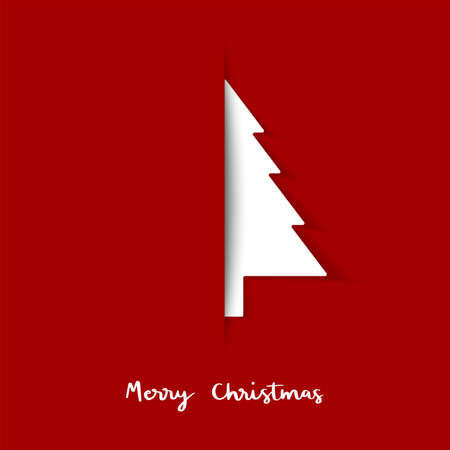 Christmas tree paper cut. Design banner. Greeting card.