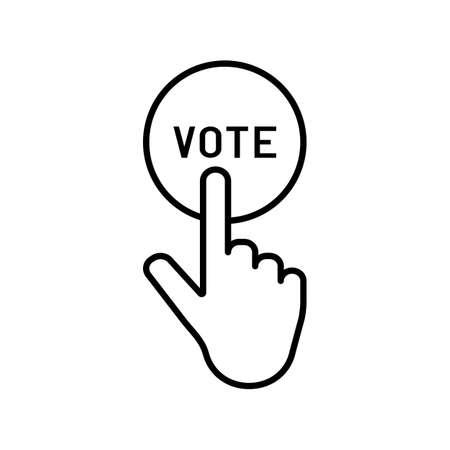 Hand pressing vote button vector icon.