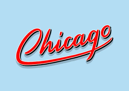 Chicago hand lettering with 3d isometric effect.