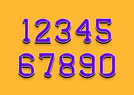 Set of numbers with 3d isometric effect. Vector illustration. Çizim