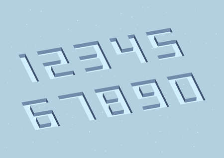 Set of numbers with with 3d isometric effect on blue background.