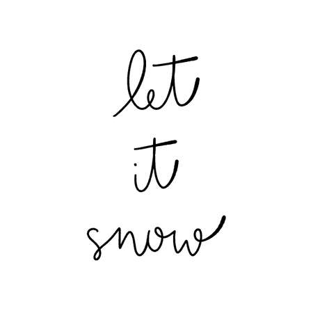 Let it snow hand lettering on white background.