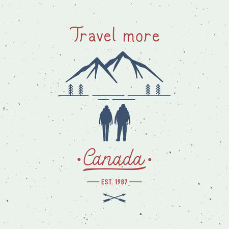 Travel more Canada hand lettering with backpackers. Travel concept.