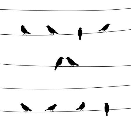 A silhouette of birds on wires. Vector illustration.