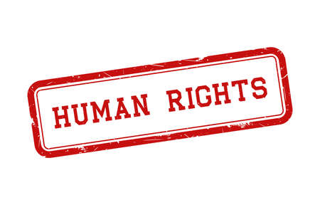 Human rights with red grunge rubber stamp. Vector illustration.