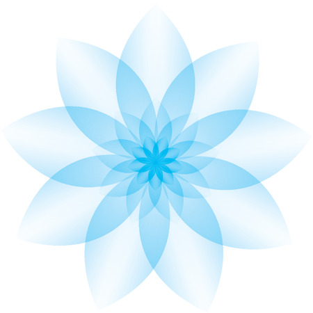 resembling: Beautiful blue icon resembling a flower. Illustration