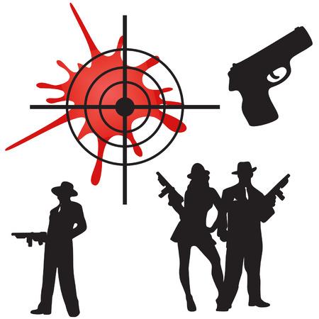 pandilleros: Pandilla de caracteres, arma, apuntar. Vectores