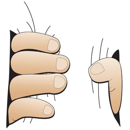 point i: Big hand vector illustration.