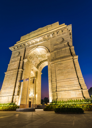 monument in india: A wide angle shot of the India Gate formerly known as the All India War Memorial at Rajpath, New Delhi.