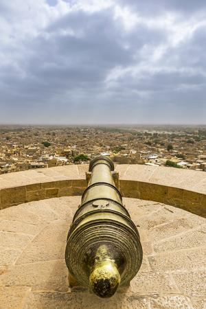 jaisalmer: Cannon point at Jaisalmer Fort, Rajasthan, India Editorial
