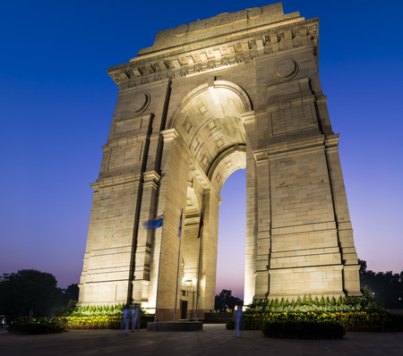 statue: A wide angle shot of the India Gate formerly known as the All India War Memorial at Rajpath, New Delhi.