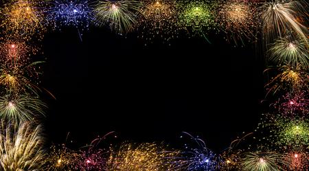 japenese: A festive night photo frame with beautiful fireworks.