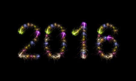 japenese: 2016 written with Sparkle fireworks over black skybackground