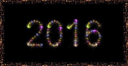 japenese: 2016 written with Sparkle fireworks with fireworks frame over black skybackground