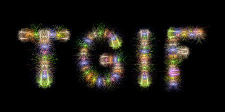 TGIF text word written with sparkle fireworks on back sky background