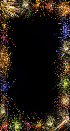 japenese: A colorful sparkling festive night photo frame with beautiful fireworks.