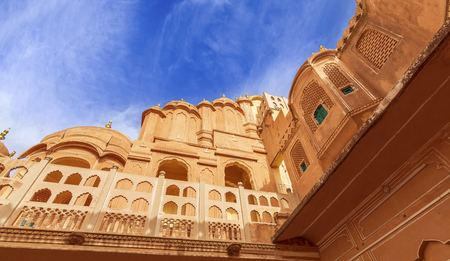 Hawa Mahal is a beautiful palace in Jaipur (Pink City), Rajasthan, also known as Palace of Winds or Palace of the Breeze, constructed of red and pink sandstone built in 1799 by Maharaja Sawai Pratap Singh. Stock Photo