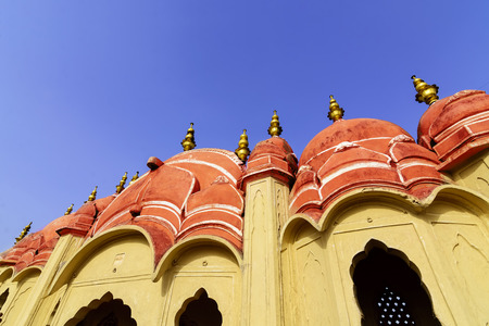 Hawa Mahal is a beautiful palace in Jaipur (Pink City), Rajasthan, also known as Palace of Winds or Palace of the Breeze, constructed of red and pink sandstone built in 1799 by Maharaja Sawai Pratap Singh Stock Photo