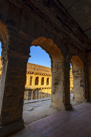 corridors: Corridors of a stepwell  baori, situated in an unknown village of Rajasthan, India