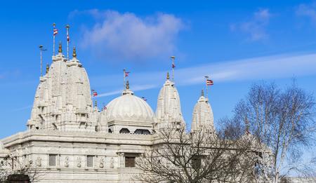 dome of hindu temple: Beautiful hindu temple BAPS Shri Swaminarayan Mandir in London, United Kingdom