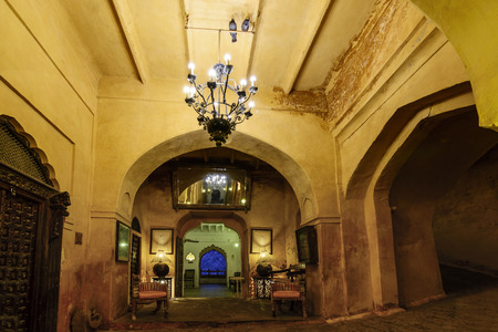 The ostentatious interiors of a historic Rajputana castle in Rajasthan, India