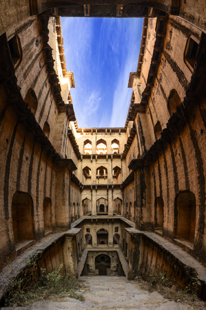 prespective: Panoramic view of famous stepwell  baori, situated in the village Neemrana, Rajasthan, India
