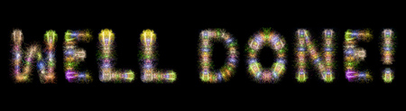 superiors: Well Done text written with Colorful Sparkling Fireworks over black sky  background