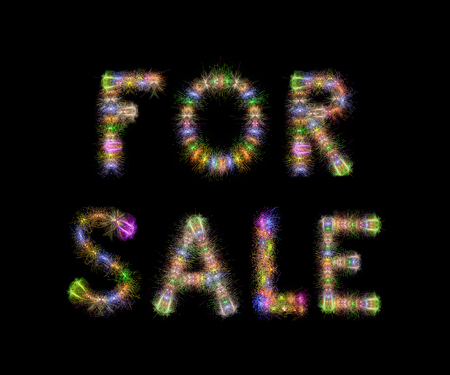 pyrotechnics: FOR SALE text written with Colorful Sparkling Fireworks over black sky  background