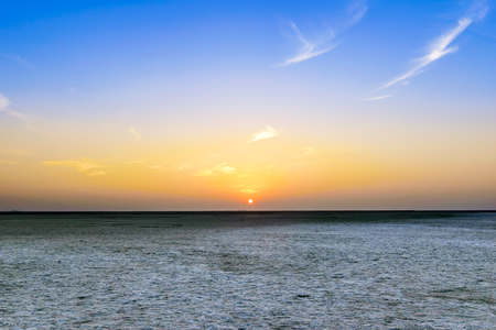 Beautiful calm sunset view at great Rann of Kutch, Salty Landscapes, Gujarat, India