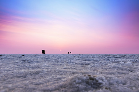 Beautiful multicolored sunset landscape silhouette of the Great Rann of Kutch, Gujarat, India