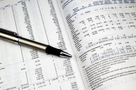 prospectus: Looking over an investment annual report. Stock Photo